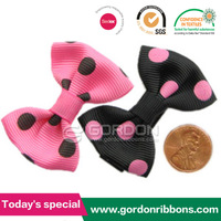Factory sale cheap 2.5inch polka dot boutique hair bows with alligator clip for Girls