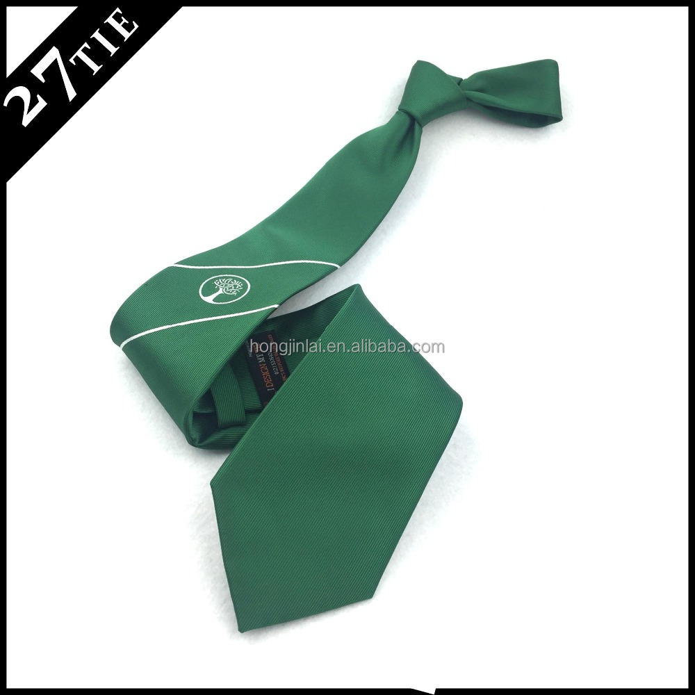 Hot selling woven neckties green tree logo men ties pure silk neckwear