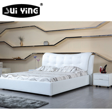 S185 leisure white leather simple bed design