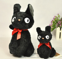 cute design red ribbon long fur plush toy black cat