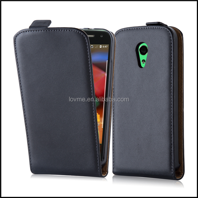 Luxury Genuine Real Flip Leather Case Wallet Cover for Motorola Moto G 2nd Gen