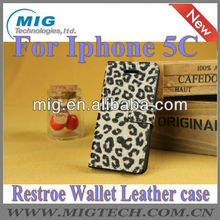 For iphone 5C Leopad wallet leather case, for iphone 5c cover