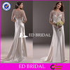 WD309 Custom Made 3/4 Sleeve Beaded Satin Fabrics Modest Wedding Dress