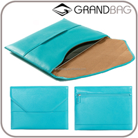simple hot sell flap closure genuine leather envelope clutch bag tablet sleeve with suede lining