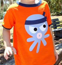 Wholesale cute baby boy 100% cotton printing cute octopus tee boutique shirt for boy