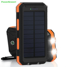 LED Design Waterproof Solar Bank Panel Double Output 10000mAh Solar Powered Charger for Mobile Phone with Torch