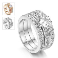 3pcs/set 18kgp jewelry gold rings price with stones