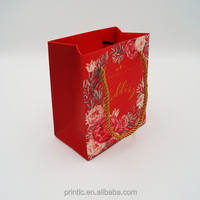 Custom Small red paper Gift bags with gold rope handle