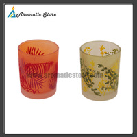 decorative colored pile coating glass candle holder