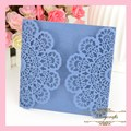 MR066 Royal Blue Elegant Two Sides Sqaure Card Lace Carved Pattern Customizable Paper Crafts Wedding Laser Cut Invitation Card