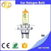 yellow h4 24v truck headlight bulb 24v xenon h4 high low 8000k 75/70w h4 bi-xenon projector bulb