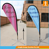 Colorful beach flag stand with pole and base