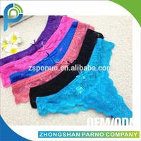 Colorful sex ladies panties lace T-thong with crotch lining