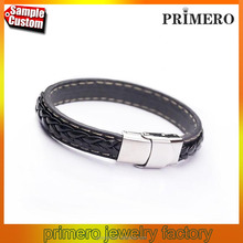 Black Genuine Leather Bracelet Bangle Stainless Steel Mens Jewelry