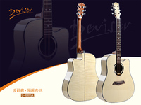 "Plastic round back acoustic guitar 41"",full maple High-gloss with tiger striges acoustic guitar"