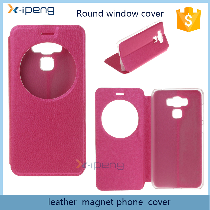 Round window simple design leather magnet full cover case for asus zenfone 3 max zc553kl