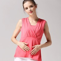Wild Sleeveless Nursing Clothes Street Style Breastfeeding Clothing Modal Maternity Mother Outdoor Tops