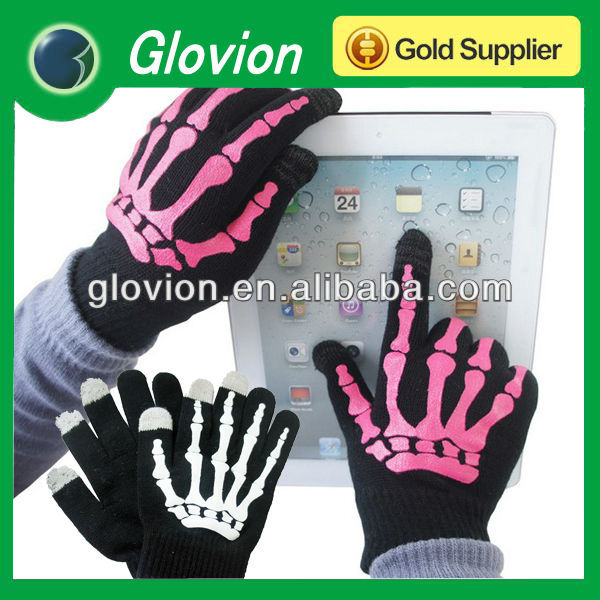 Bone pattern touch screen gloves hand bone gloves for iphone