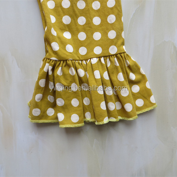 Cheap Designer Autumn Teen Girl Long Sleeve Top With Bib One Ruffle Polka Dots Long Pants Suit