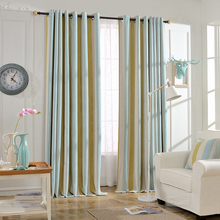 Simple Stripe Design Jacquard Panels Grommet Blackout Curtains for Living Room/Bedroom/window curtains