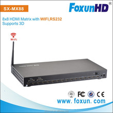 SX-MX88-3DCAT High Quality Video/Audio Wireless HDMI Matrix Switcher Over Cat5e/6 WIFI, RS232, 3D 8x8 hdmi matrix 1.4