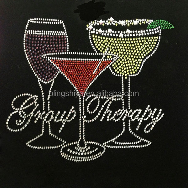 Wine glasses design Rhinestone transfers wholesale in china with letter Group Therapy low price with high quality
