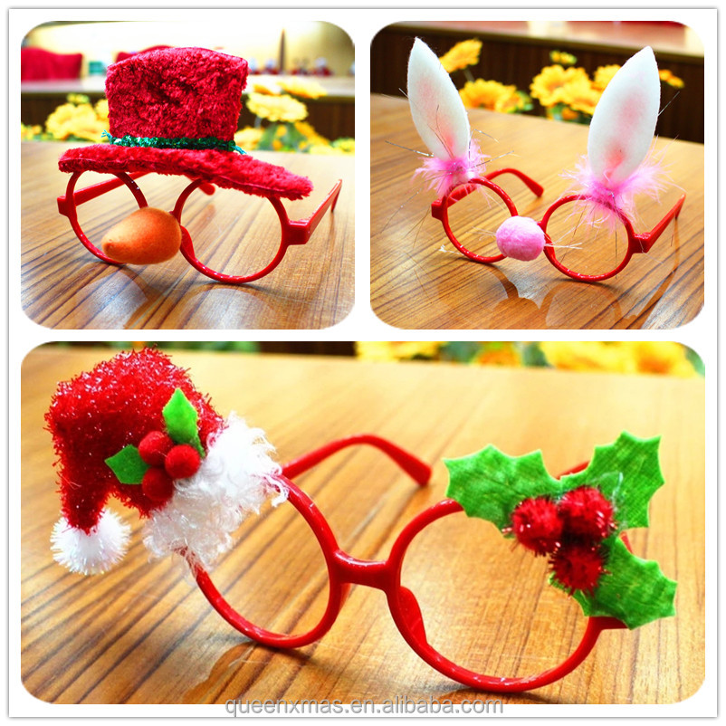 Santa Claus, snowman, antler, rabbit ears, hat decorations novelty party christmas glasses for funny