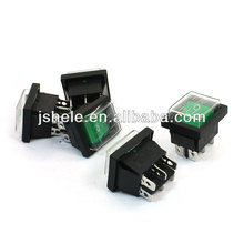 DPDT I/O 2 Position 6 Pins Green Button Waterproof Boat Rocker Switch Black