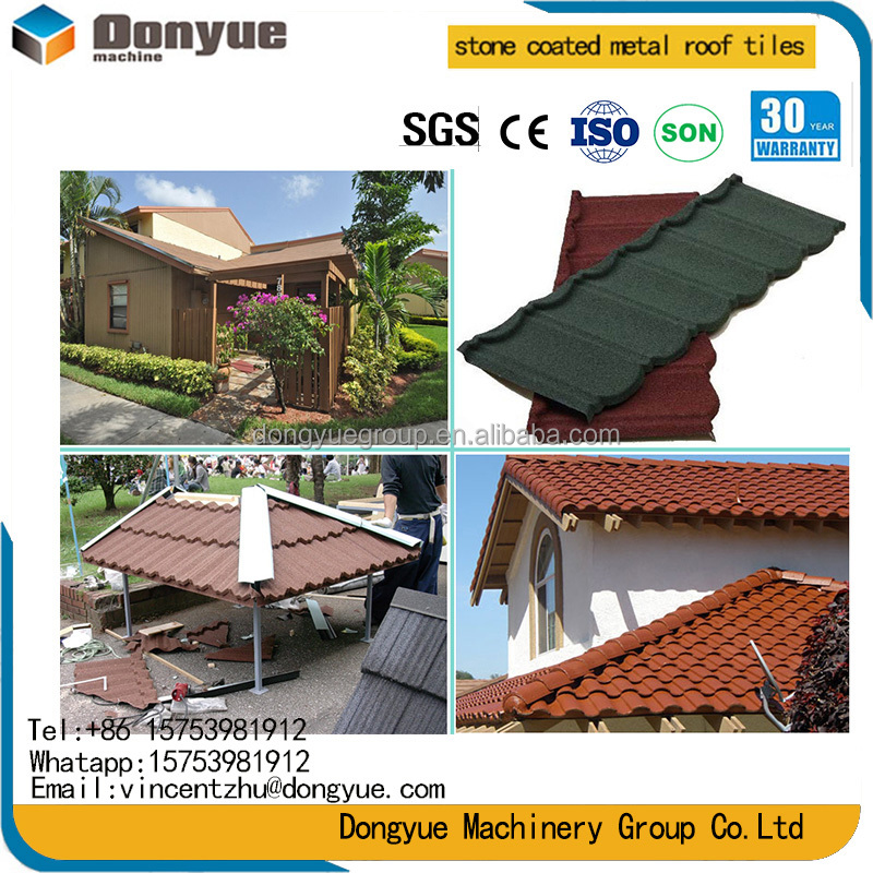 French blue glazed flat stone coated roof tile Building Roof Metal Color Steel/sand roof tiles