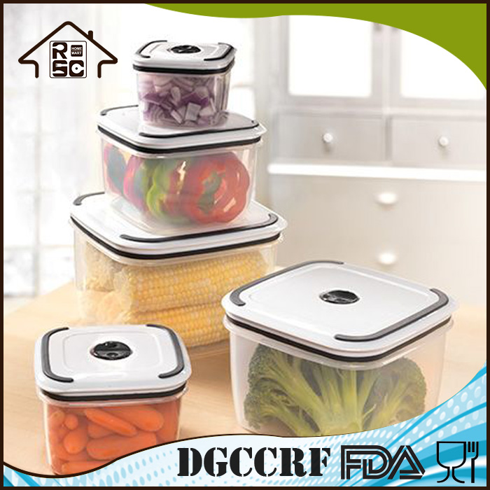 NBRSC Strict Quality Control Manufacturer Bin 5 Pc Vacuum Square Food Easy Find Lid Storage Containers Food Storage Container