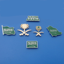 novel Saudi Arabia national day flag metal badge with magnet /map/flower custom shaped with soft enamel hand polish