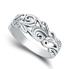 925 silver jewelry Cut-Out Acacia Leaves Filigree Ring Sterling Silver 925 swirl vine ring