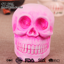 props pink color hand made painted ceramic decorative skull for halloween party decorations