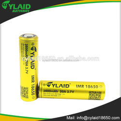 free sample imr 18650 cylaid rechargeable batteries 3500mah 20A big capacity single battery