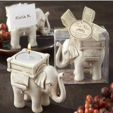 Popular resin lucky elephant candle holder resin wedding table decoration cheap door gift souvenirs