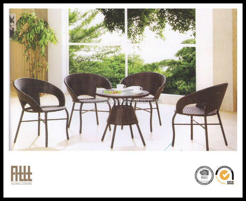 new deaign AWRF5160B restaurant outdoor rattan glass top tables and chairs for dining furniture from Ningbo supplier