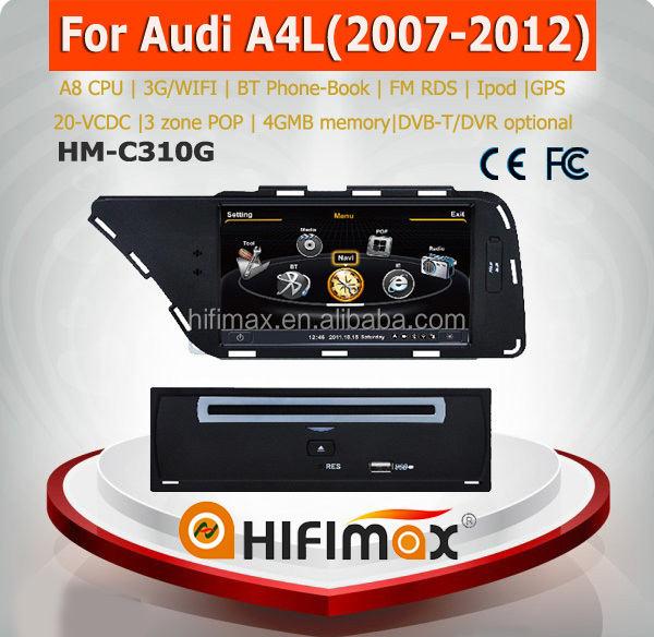 7 inch Car Navigation GPS For Audi A4L DVD Head unit - BT Phone-Book 1Ghz CPU 4G Rom 20 V-CDC HD 1080P
