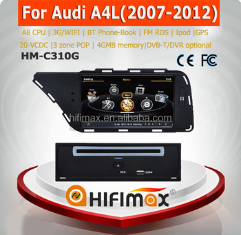 Hifimax Car Multimedia Radio GPS System For Audi A4 b6 2008 (2009-2013) Navigation For Left hand drive With RDS Bluetooth Ipod