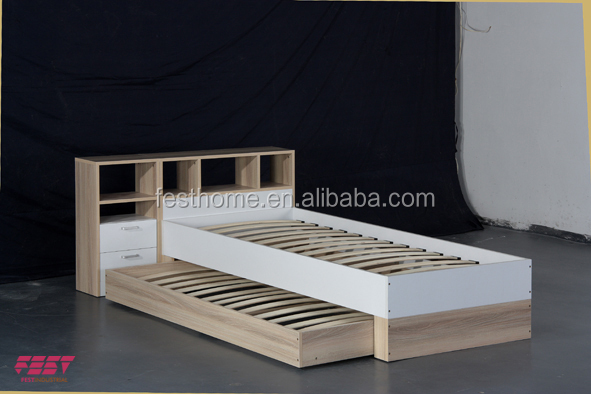 2016 new design Modern wooden Single Bed With drawer