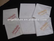 white cotton personalized wedding handkerchief with monogramming