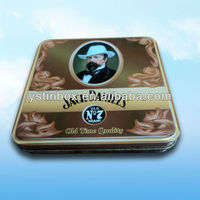 Custom small metal hinged tin boxes for cigarette