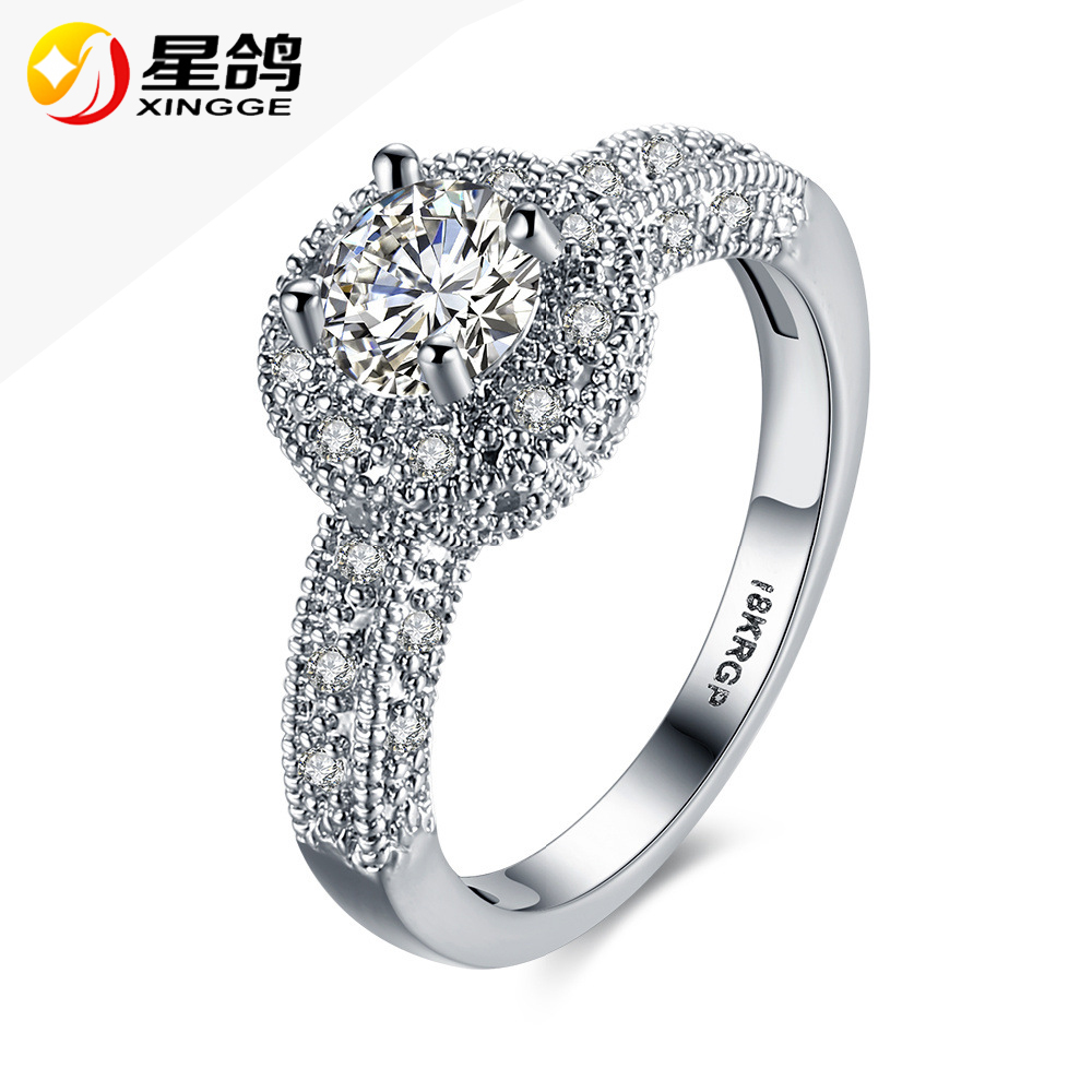 Women Rhodium plating Wedding round <strong>Ring</strong> for Women AAA White Cubic Zirconia bridals Finger <strong>Rings</strong> Jewelry Wholesale