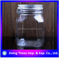 Empty 750ML Glass Storage Jar With Metal Clip and Silicon Seal, airtight 750ml clear glass jar with clip top lid