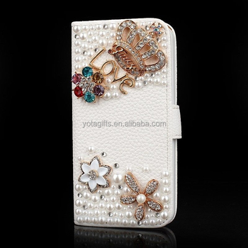 Custom 3D Bling bling Crown with colorful flowers mobile phone case for samsung j1 j100 and for i phone and for hisense