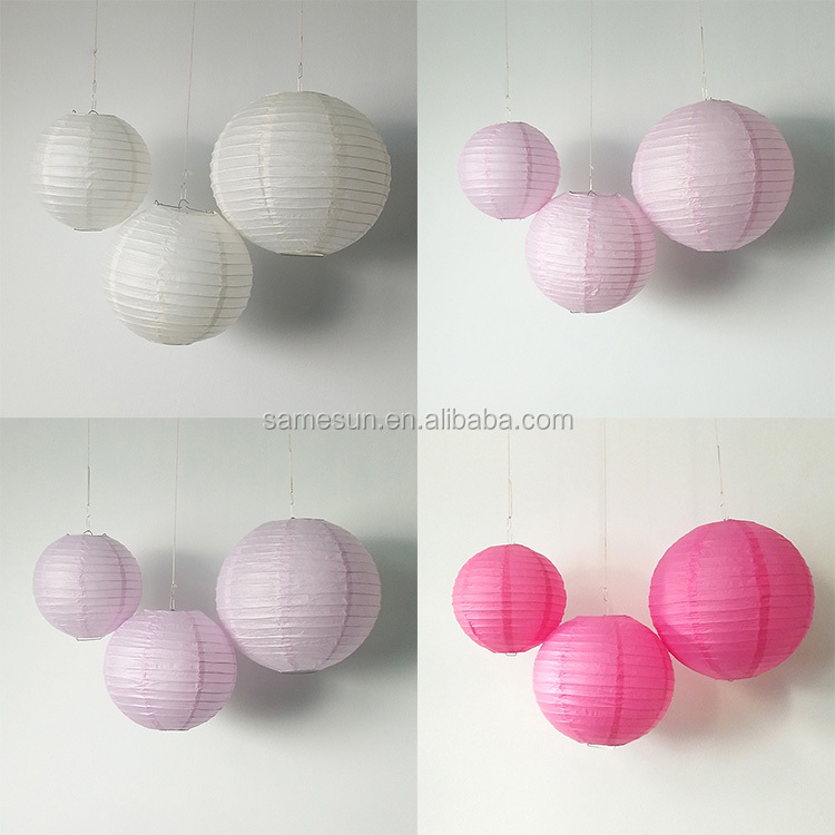 3 pack Round Paper Lantern For Wedding Party Decoration