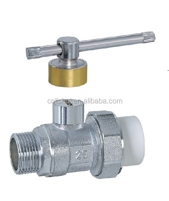 Single PP-R Chrome Plated Magnetic Lockable Brass Ball Valve(Male)