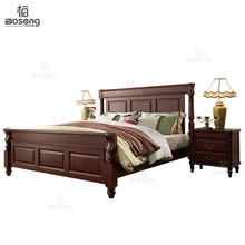Boseng Classic Four Poster Bed, Glossy Dark Pine Antique Baroque Style Brown Cherry Finish Eastern King Size Bed Frame Set