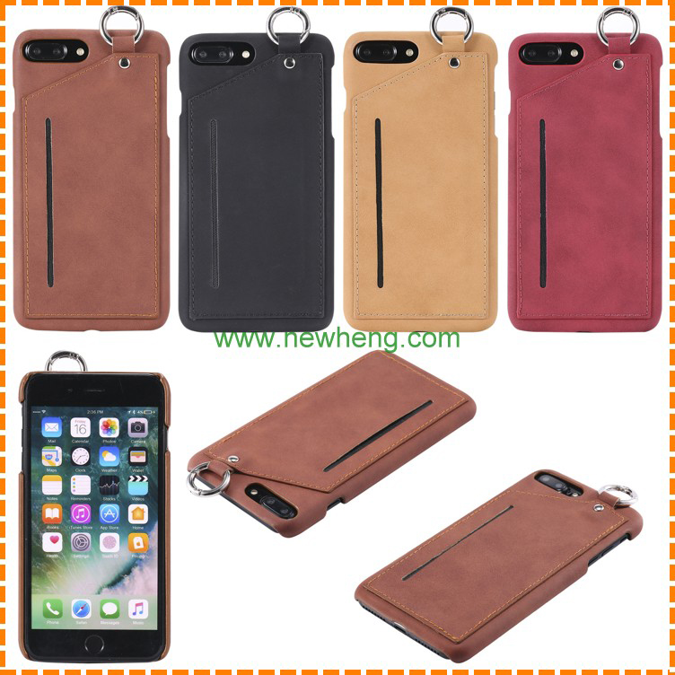 Retro Crazy horse Pattern credit card slots hard pc Hanging ring phone case for iphne 7 plus