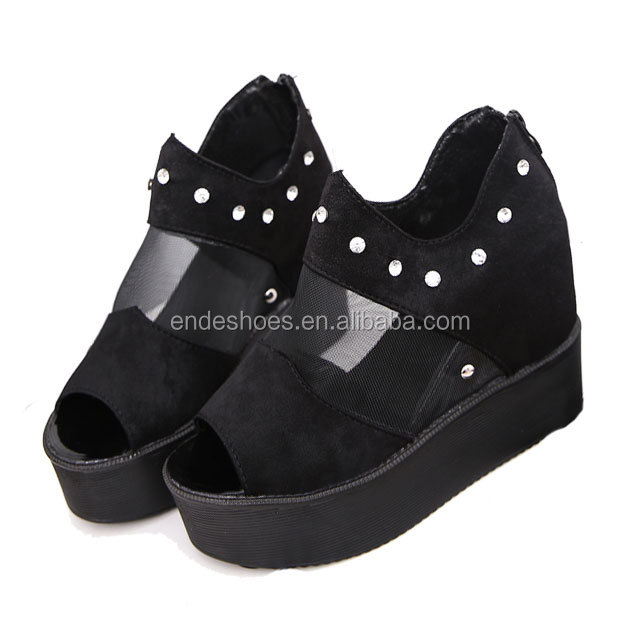 new black fashion shoes flat high heel sexy ladies wedge women comfort sandal