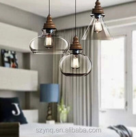 vintage wooden base with glass pendant lamp